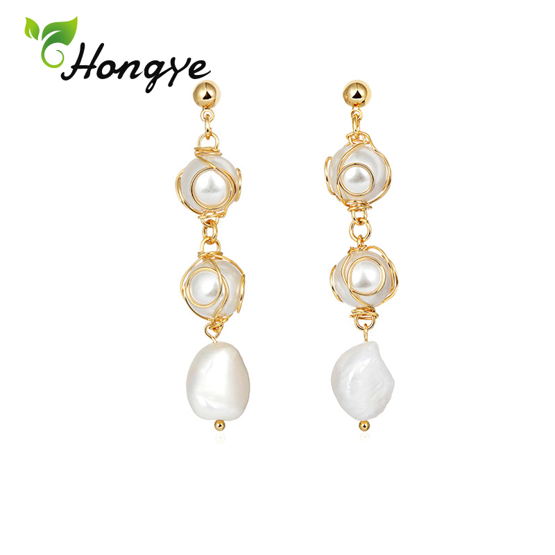 Freshwater Pearl Drop Earrings for Women Elegant 14k Gold Color Fashion Brincos Tassel Hanging Earrings Bridal Statement Jewelry in Earrings from Jewelry Accessories