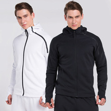 Vansydical The New Mens Hooded Training Long Sleeve Sports Fitness Coat Sweat - wicking Jacket Sweater Sportswear