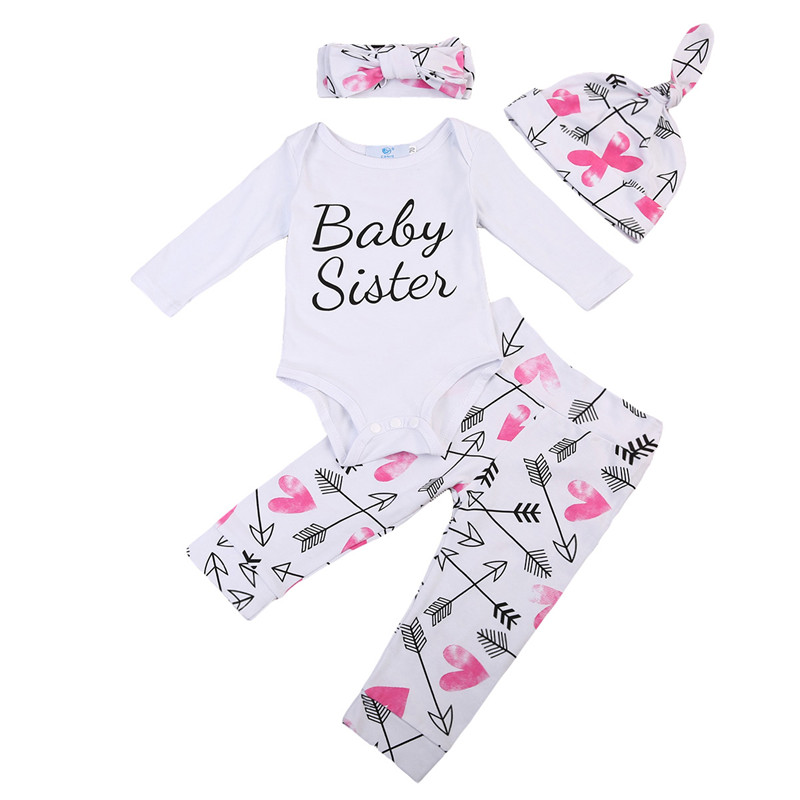 0-24M High Quality Newborn Baby Girls Clothes Long Sleeve Romper Floral Pants+Hat+Headdress 4PCS Outfits Baby Clothing set