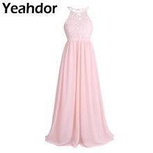 Lace Floral Chiffon Flower Girls Dresses For Wedding Party Girls Hollow Out Halter Sleeveless High Waist A Line Maxi Long Dress