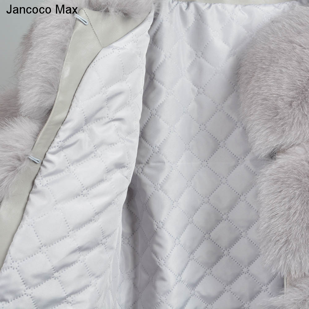 Jancoco Max Women 39 s Real Fox Fur Coat Winter Thick Warm Fashion Outerwear High Quality Long Overcoat 2019 New S7221 in Real Fur from Women 39 s Clothing
