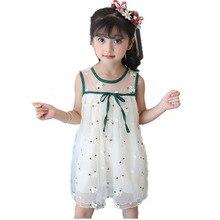 2018 Summer Girls Print Flower Beach Dress Kid School Cute Sleeveless Perform Dance Dress Girls  Wedding Voile Dress Kid Clothes