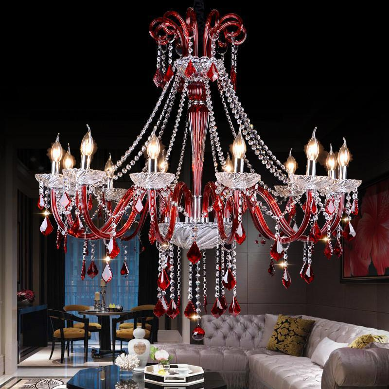 wine Red glass Chandelier crystal drop Coffee shop Restaurant Spain New Bar lamp Mixed Color Chandelier Lampadari Customized E14