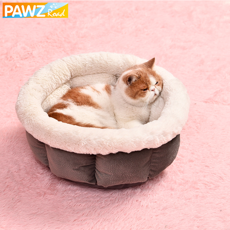 Pawzroad Pet Cat Bed Super Soft Pure Color Pet Kennel 4 Colors Nice Quality Short Plush White Dog Bed Puppy Sleeping Warm Kennel