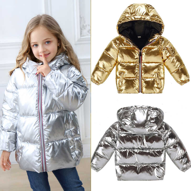 Girls Winter Jackets for Kids Silver Gold Casual Hooded Coat Boys Clothing Children Outwear Baby Girl Parka Jacket Snowsuit