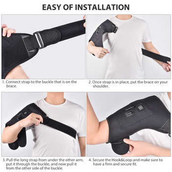 Electric Heat Therapy Adjustable Shoulder Brace Back Support Belt Dislocated Shoulders Rehabilitation Shoulder Injury Pain Wrap