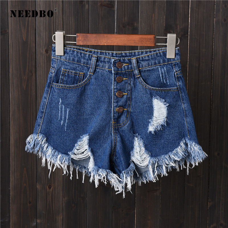 NEEDBO Shorts Jeans Summer Short For Women 2019 Denim Shorts High Waist Casual Short Femme 6XL Plus Size Hole Short Pants Ladies