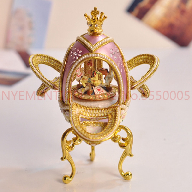 Egg carving handicraft Mini Music Box with Musical Boxes for Wedding Princess Love Girls Valentine's Day SANKYO Movement 5PCS