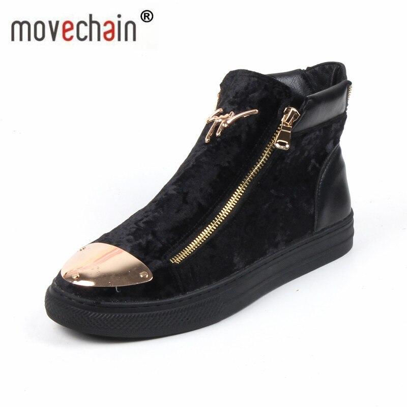 Movechain nouveaux hommes haut Zip décontracté chaussures plates homme en plein air chaussures en cuir véritable bottines hommes mode Martin bottes