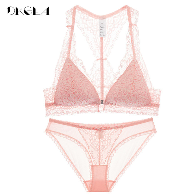 Fashion Women Underwear Set Sexy Ultrathin VS Pink Lingerie Lace Front Closure Bra Set Embroidery Black Brassiere Wire Free Bras