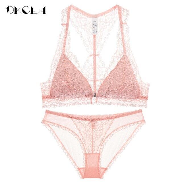 Fashion Women Underwear Set Sexy Ultrathin VS Pink Lingerie Lace Front  Closure Bra Set Embroidery Black Brassiere Wire Free Bras 0ac8655370