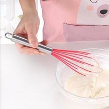 цена Silicone+Stainless Steel Manual Egg Beaters Folding Cream Blender Hand Egg Mixer Cooking Foam Stirring Mixing Kitchen Gadgets онлайн в 2017 году