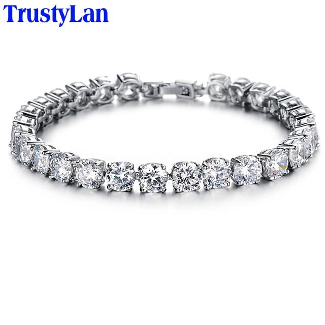 63fc15a31595 TrustyLan oro blanco Color verde CZ pulseras de cristal para mujeres  pulseras brazaletes mujer boda accesorios