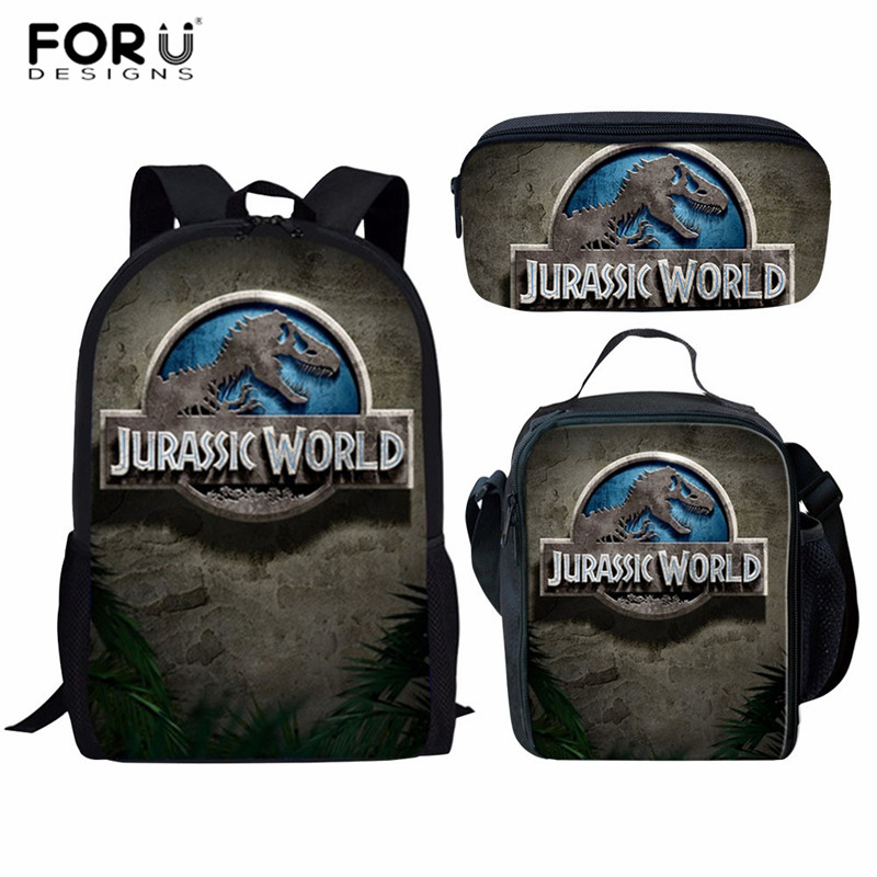 FORUDESIGNS 3D Prints Jurassic World Dinosaur School Backpack for Kids Bagpack Boys School Bags Junior Student Travel BookBag бейсболк мужские