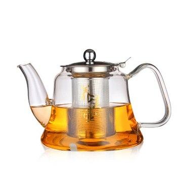 Tetera de cristal borosilicato de 1000ml con filtro de malla de densidad y tapa tetera Herbal de té rojo