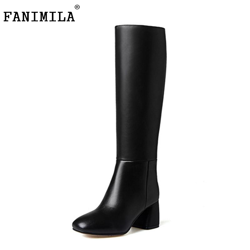 ФОТО Women Genuine Leather Knee Boots Winter Sexy High Heel Classic Square Toe Elastic Fashion Shoes Size 34 39