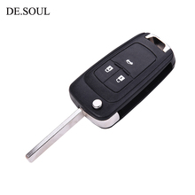 DE.SOUL 3Button Flip Folding Key Shell for Chevrolet Cruze Remote Key Case Keyless Fob For Chevrolet HU100 Blade