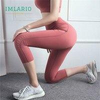 Imlario Extra Soft Fitness Cropped Pants Female High Waist Gym Tights Capri Yoga Leggings Tummy Control Athletic Sportswear