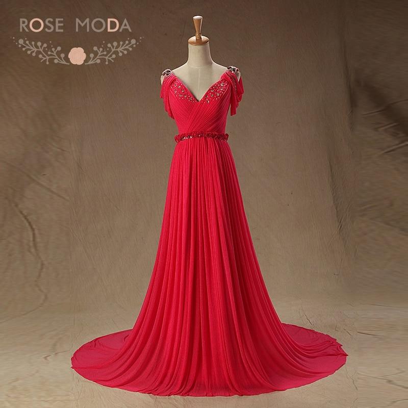 Rose Moda Sexy V Neck Hot Pink   Evening     Dresses   with Train Off Shoulder V Back Formal Party   Dress   Red Carpet   Dresses