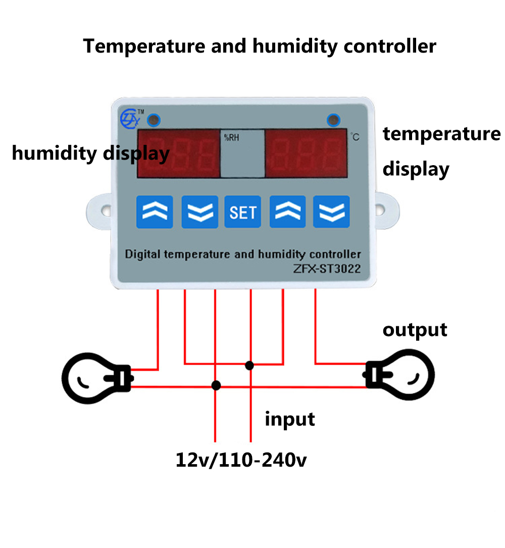 2 in 1 Digital display Temperature humidity Controller thermostat Humidity control with Sensor AC110 220V