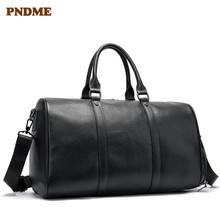 PNDME genuine leather large-capacity travel bag simple outdoor travel First layer cowhide black luggage bag Men's travel bag travel bag woodland leather travel bag