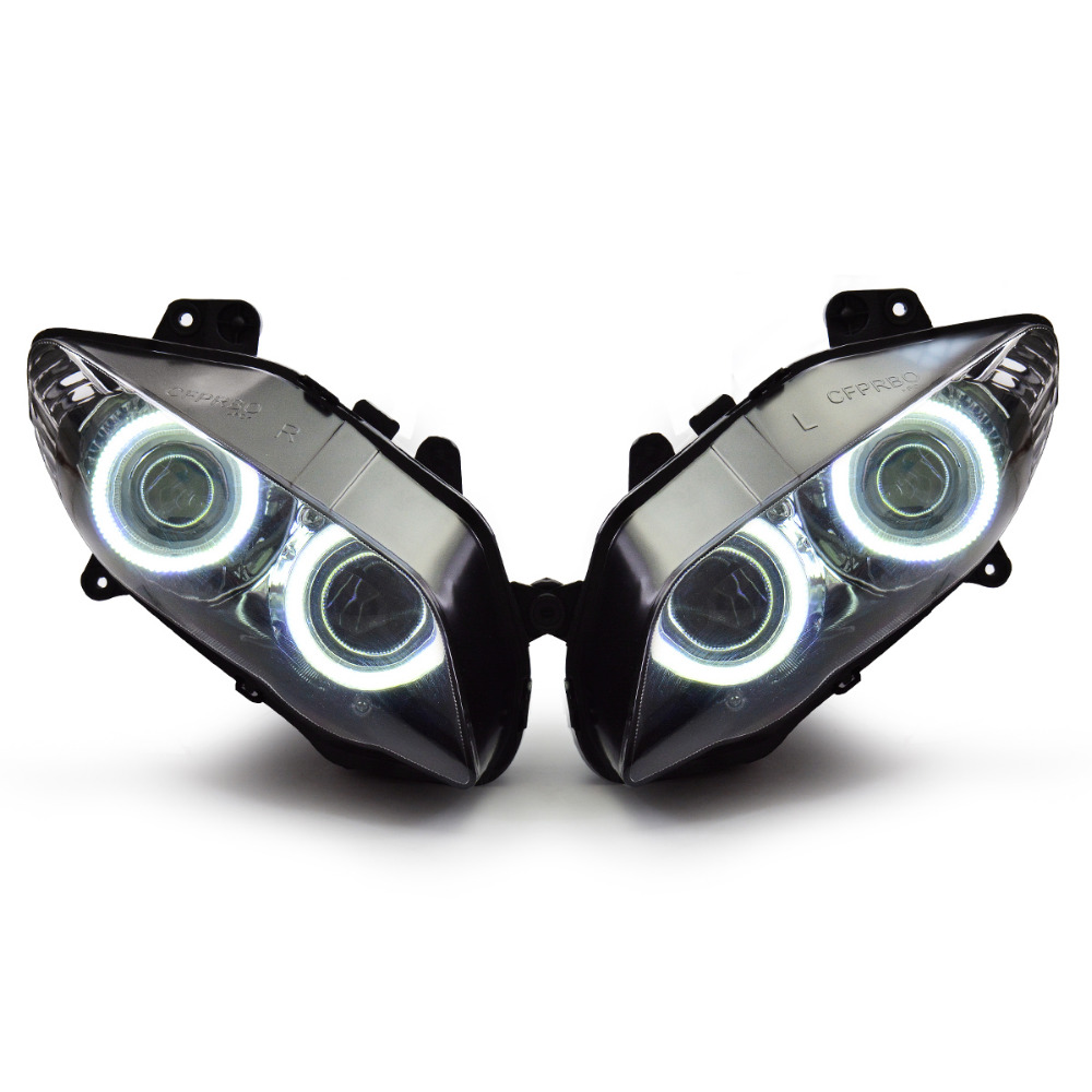 KT Headlight for Yamaha YZF R1 2004 2006 LED Angel Halo Eye Motorcycle HID Projector Assembly