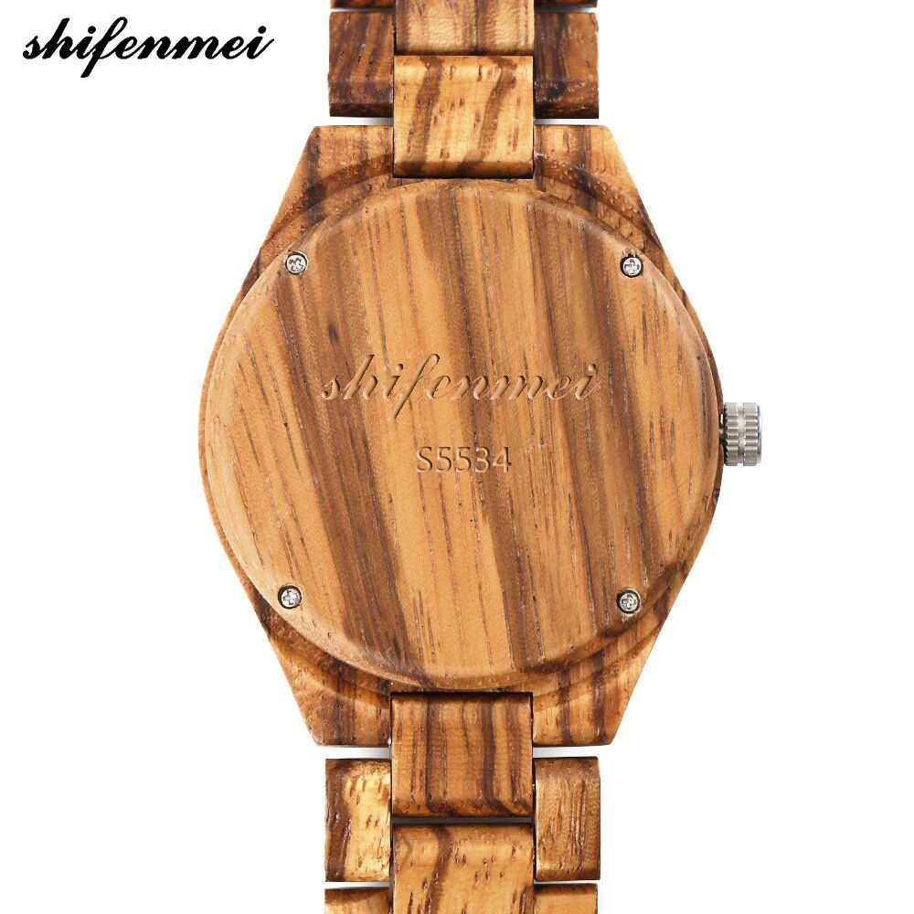 Shifenmei s5534 cuarzo hombres y mujeres reloj madera caliente grabado núcleo pulsera Relojes bewell hombres mujeres madera grabado de moda