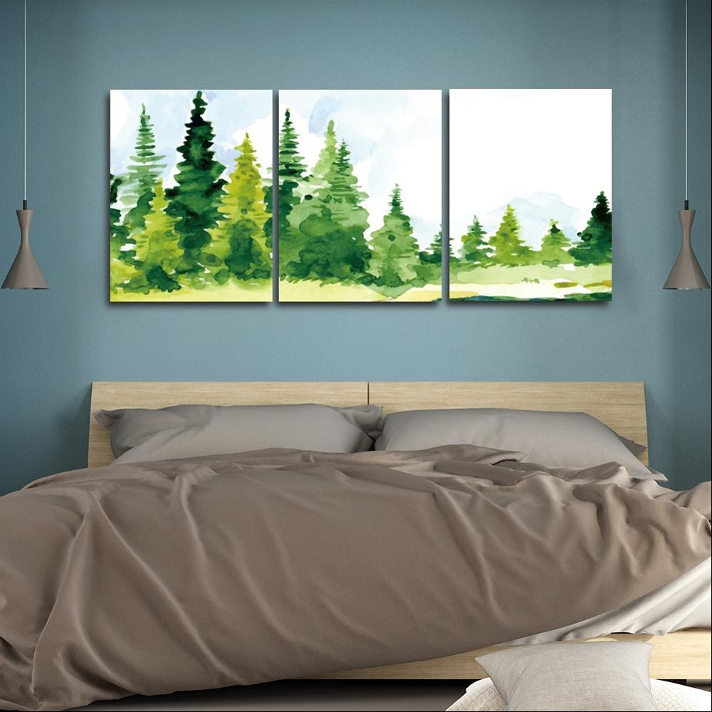 Watercoloe Green Trees Wall Pictures Poster Print Canvas Painting Calligraphy Decor for Living Room Bedroom Home Decor Frameless in Painting Calligraphy from Home Garden