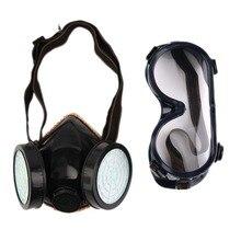 Новая полумаска для лица противогаз с анти-туман очки N95 маска от химической Пыли Фильтр дыхательные респираторы для окрашивания спрей сварка