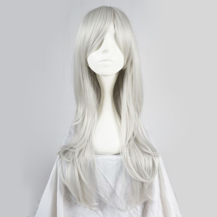 """28"""" Long Wavy Silver White Anime Cosplay Party Full Wig+wig Cap Heat Resistant"""