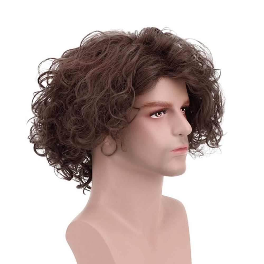 12 ''короткие волнистые коричневые хиппи мужские Панк Рокер 70s диско пушистые Необычные забавные Ретро Хиппи парик сторона челка для вечеринки костюм Хэллоуин