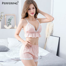 Perfering Sexy Sleeveless Vest + Shorts Set Nightgown Lingerie V-Neck Vest Short Bra Set Women Pajamas Nightwear Sleepwear Lady(China)