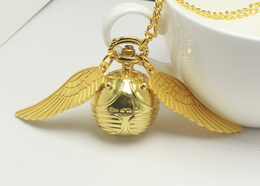 harri Potter Necklace Top Luxury Golden Snitch Ball Quartz Pocket Watch Pendant with Chain Gifts for Men Women Kids reloj Gift