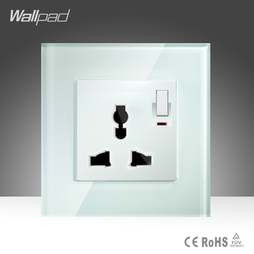 Universal Sokcet Wallpad White Crystal Glass Manual Button Switch and 10A Universal Wall Socket with Switch and Neon 10a universal socket and 3 gang 1 way switch wallpad 146 86mm white crystal glass 3 push button switch and socket free shipping