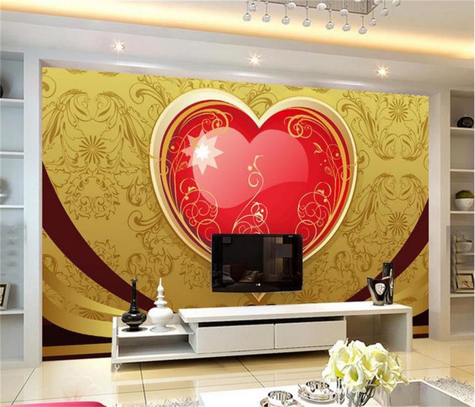 Papier A Peindre Motif €13.35 50% de réduction|3d photo papier peint personnalisé salon mural  motif d'or amour rubis peinture canapé tv fond non tissé papier peint pour  mur