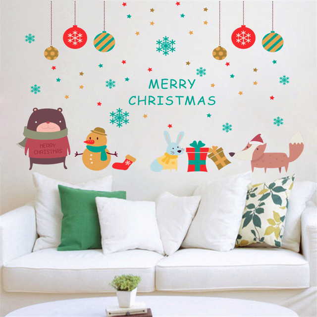 cartoon snowing bear rabbit fox merry christmas wall stickers home decor living room pvc wall decal - Christmas Wall Decal