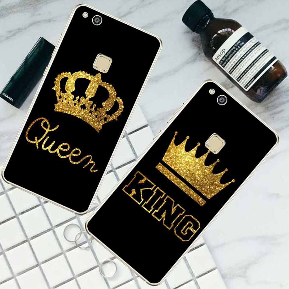 For Huawei P8 P9 P10 Lite 2017 For iPhone 4 4S 5 5S SE 5C 6 6S 7 Plus King Queen case ...