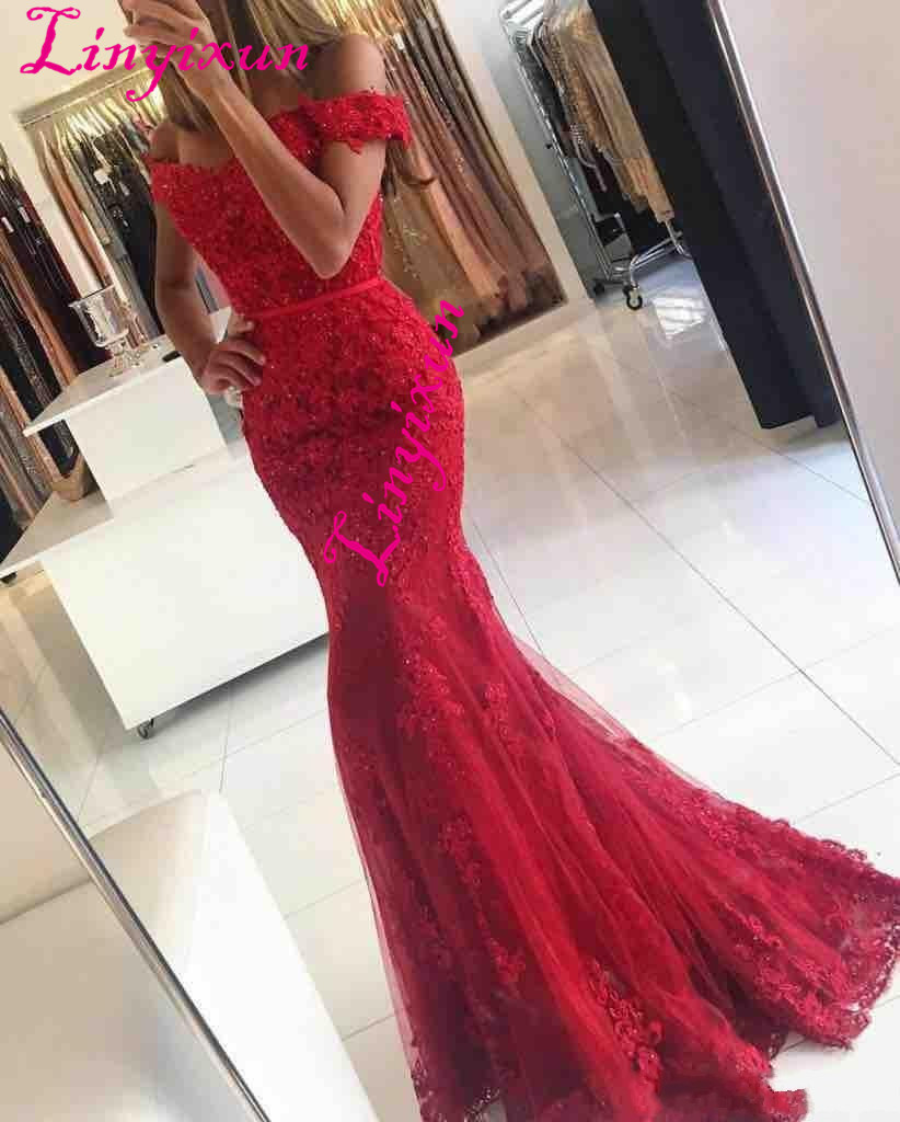 Linyixun Red Lace Mermaid Prom Dresses 2018 New Off Shoulder Beaded Appliques Tulle Long Evening Gowns