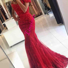 Linyixun Red Lace Mermaid Prom Dresses 2018 New Off Shoulder