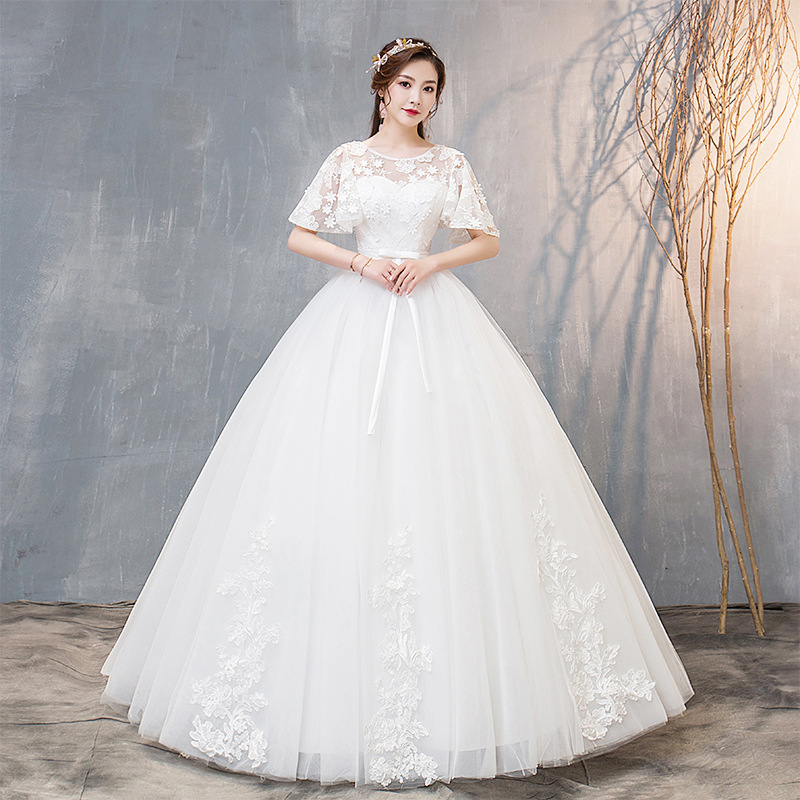 Alilove 2019 New Style Manufacturer Direct New Style White Wedding Dress Elbow-Sleeve Bride Dress Temperament Wedding Dress