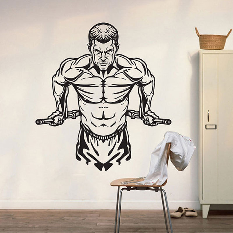 Wall Decor For Mens Bedroom 2 Bedroom Apartment Layout Ideas Bedroom Ideas Nz Bedroom Decor Black And Silver: Fitness Athlete Muscular Man Vinyl Wall Decal Home Decor