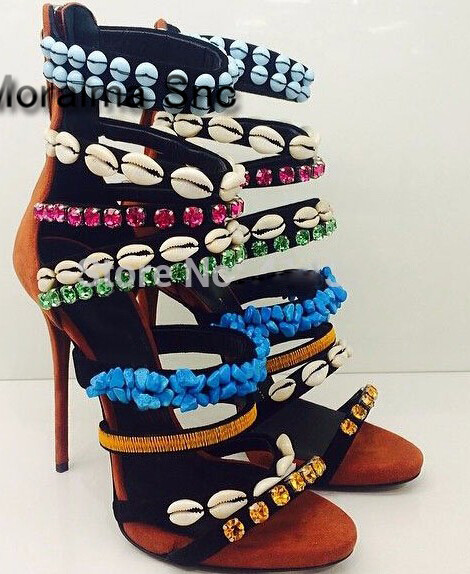 Moraima Snc Summer sexy shell and crystal decor high heel sandals woman open toe cut-outs sequins beaded thin heels sandal 2018 4 colors hot sale women summer cut outs sandal boots woman sexy open toe leather strappy thin heels sandals summer fashion boots