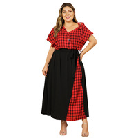 Red Plaid Dress 2019 Fashion Women Summer V Neck Short Sleeve Multicolor Elegant Party Dresses Plus Size Maxi Long Dresses
