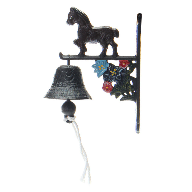 Vintage Style Rusted Horse Cast Iron Door Bell Wall Mounted Garden Decoration Access Control
