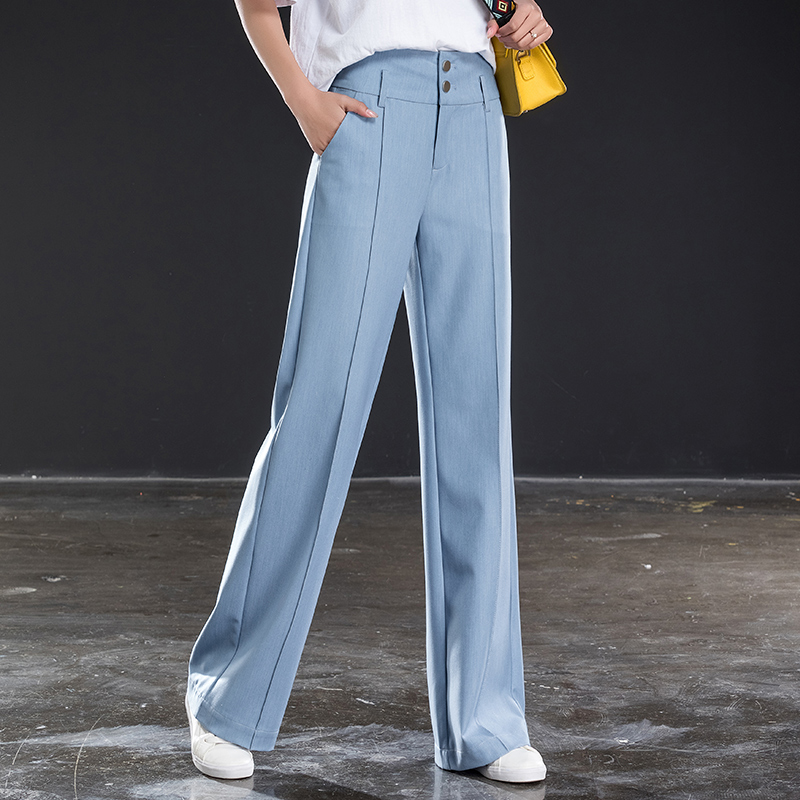 Light blue two buckle wide leg pants female summer high waist loose casual trousers new fall feeling straight pants large size p