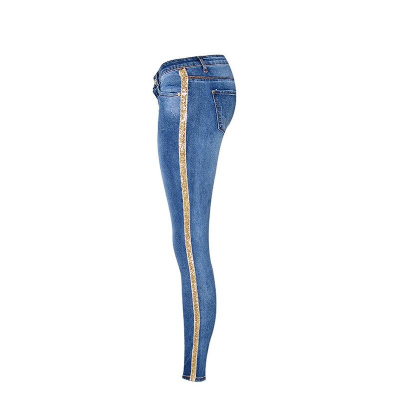 Pantalones vaqueros de mezclilla de longitud completa para mujer, pantalones de cintura baja, pantalones ajustados, talla grande y rayas laterales doradas 2019 - 2