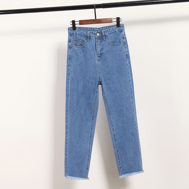Spring, Summer, New Nine Points Wide-legged Pants And Women Loose Jeans Yards Tall Waist Thin Flash Straight Canister Leisure