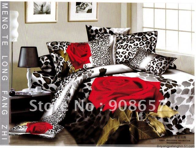 Home fashions Cotton red rose flower leopard spots background floral pattern printed comforter covers 4pc Queen bed in a bag set
