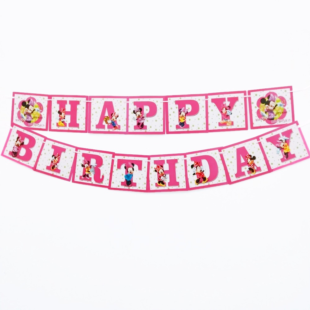happy birthday party decoration minnie mouse paper flags baby shower decorative banner pennant bunting party favors cartoon set