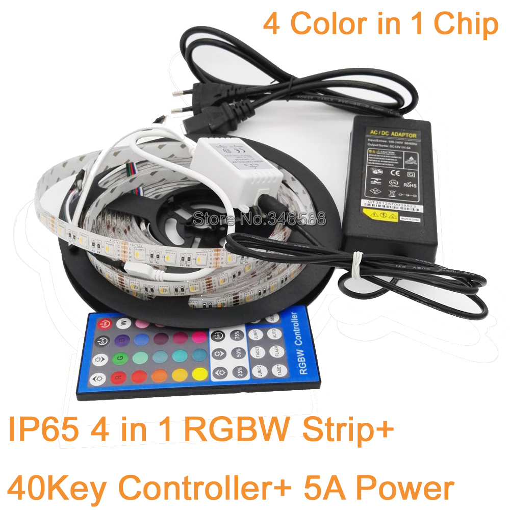 Charitable Ip65 Waterproof 5m 12v 5050 4 Color In 1 Chip Rgbw Rgbww Led Strip Tape 60led/m 40key Ir Remote Controller+12v 5a Power Lights & Lighting Led Strips